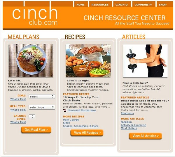 Cinch Club Online Weight Loss Center - Resources
