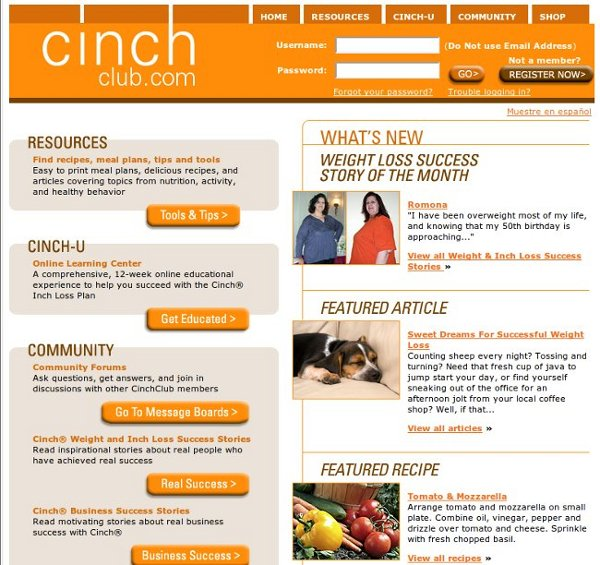 Cinch Club Free Online Weight Loss Center